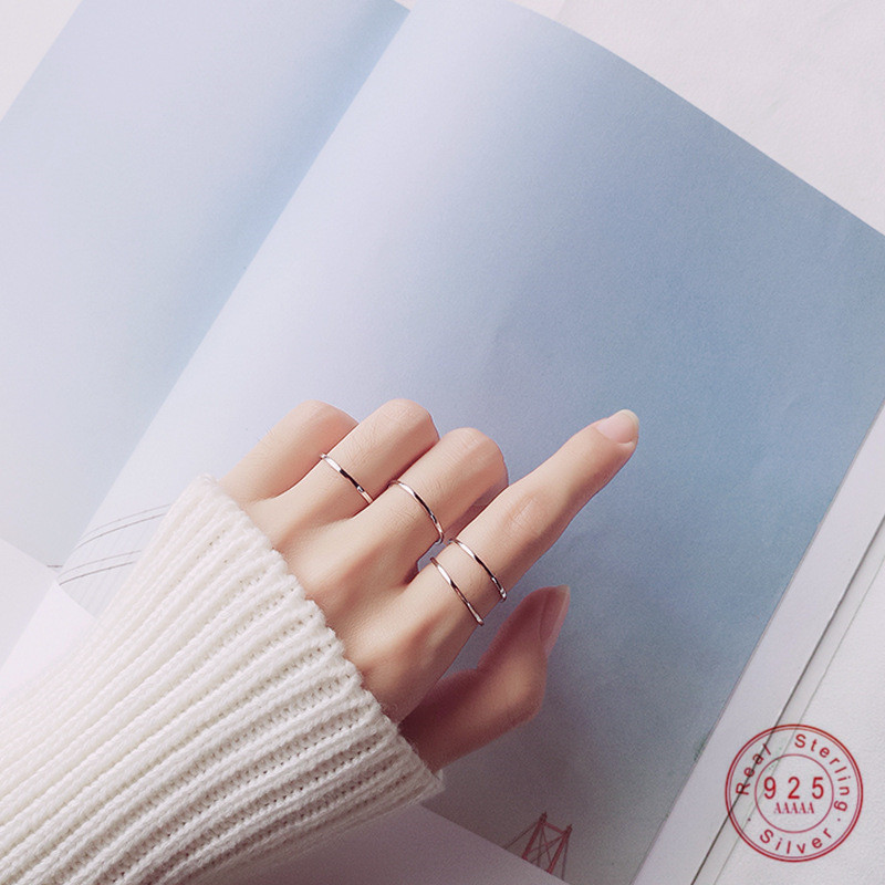 WANTME Simple Real 100% 925 Sterling Silver Glossy Fine Ring for Women Young Girls Knuckle Finger Rings Jewelry Drop Shipping