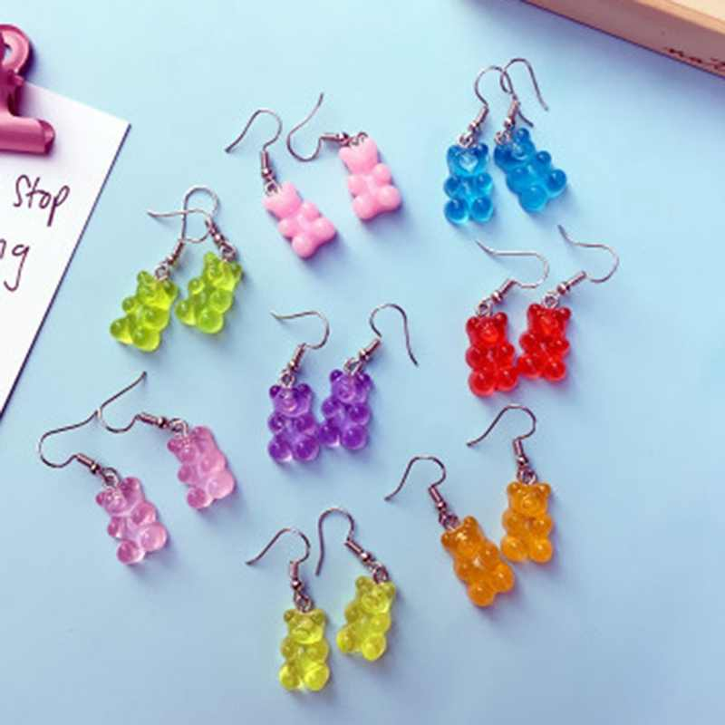 Cute Handmade Resin Colorful Cartoon Animal Bear Earring Unique Candy Color Drop Earring For Women Girl Funny Party Jewelry Gift