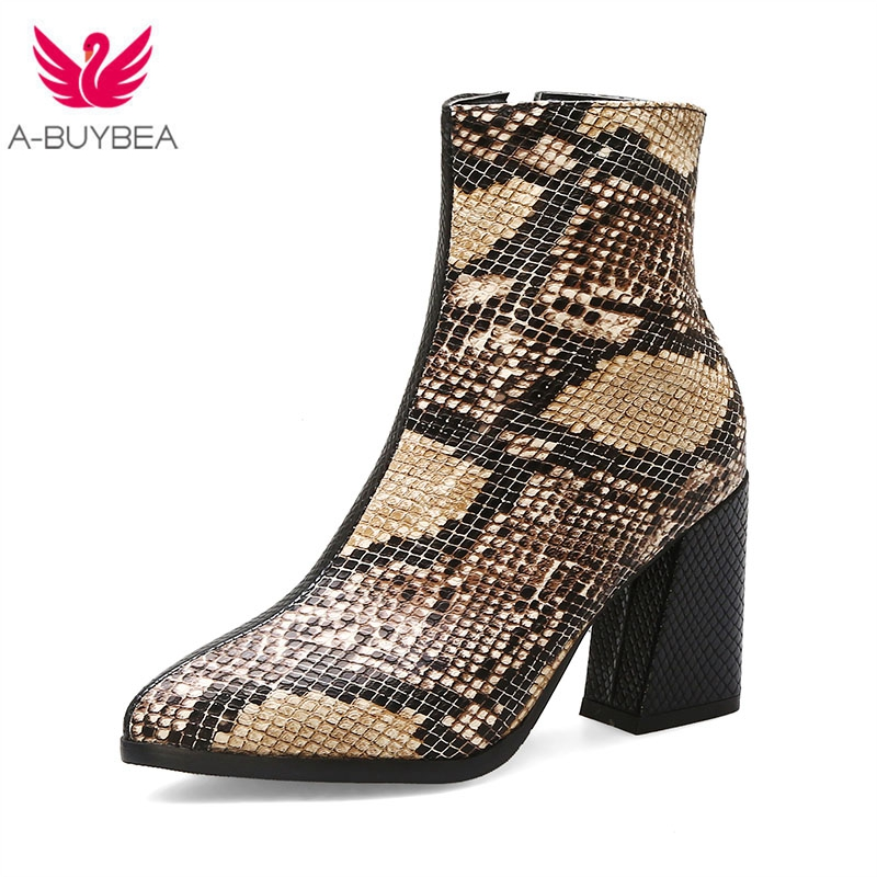 Mix Color Women Zipper Boots Snake Print Winter Warm Short Plush Ankle Boots Square Heel  Pointed Toe Ladies Shoes Chelsea Boots