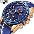 LIGE часы для мужчин модные спортивные кварцевые часы кожа для мужчин s часы Лидирующий бренд Роскошные Синие водонепроницаемые Бизнес часы ...