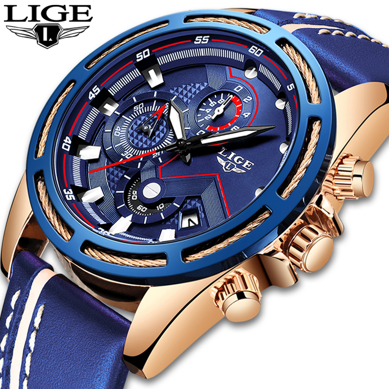 Lige 시계 남성 패션 스포츠 쿼츠 시계 가죽 남성 시계 브랜드 럭셔리 블루 방수 비즈니스 시계 relogio masculino-에서수정 시계부터 시계 의  그룹 1