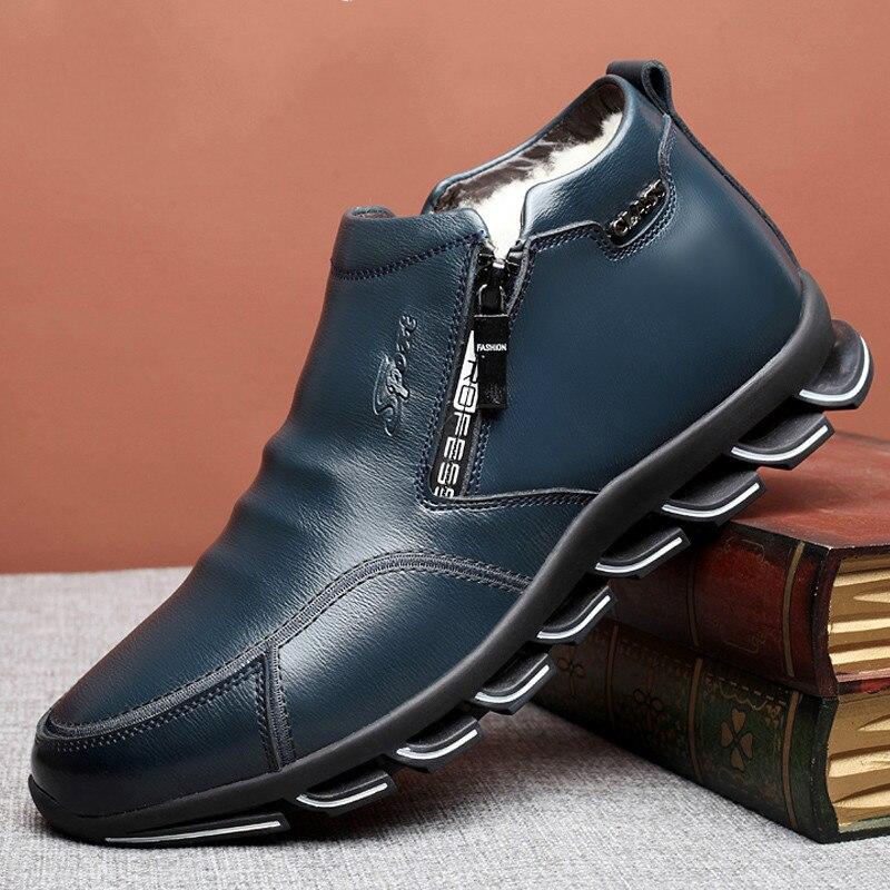 Men's Genuine Leather Winter Boots Wool Men's Fur Leisure Shoes Warm Men's Shoes Fashion Snow Boots Zapatos Hombre Rubber