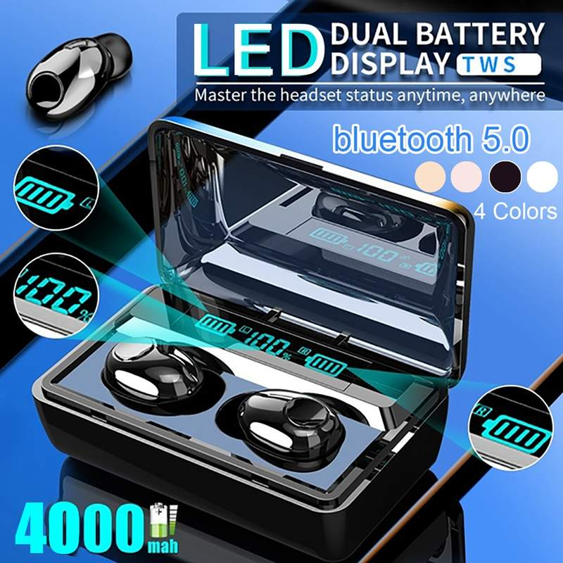 <font><b>T8</b></font> <font><b>TWS</b></font> Wireless bluetooth 5.0 Earphone 4000mAh Power Bank IPX7 Waterproof Earbuds Deep Bass HiFi Stereo Headset with Mic image