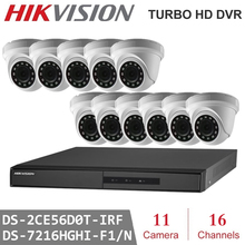 2MP 16Channels Hikvision Surveillance DVR with 11pcs 2MP 4 in 1 HD Camera indoor Night Vision CCTV Security System Kits