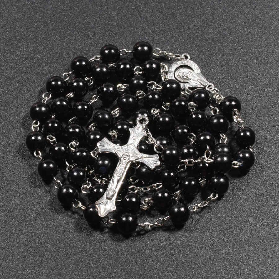 דת נוצרי פו פרל מחרוזת שרשרת לנשים בתולה מרי ישו צלב תליון ארוך חרוזים שרשרות תכשיטים