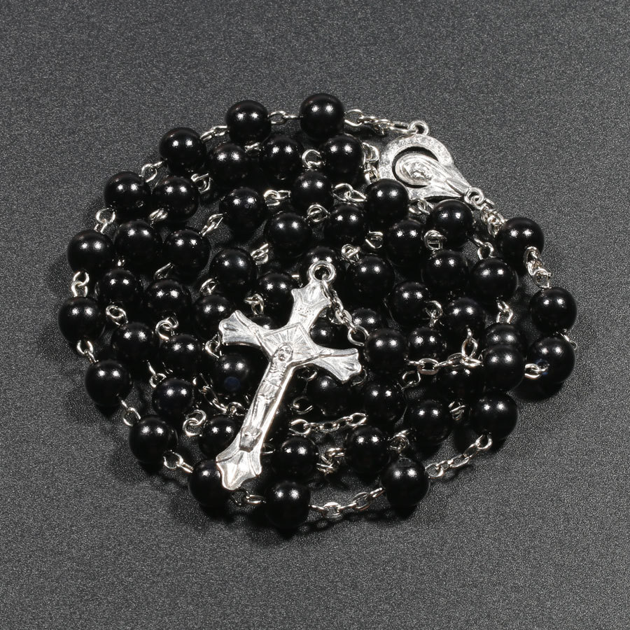 Religion Christian Faux pearl Rosary necklace For Women Virgin Mary Jesus Cross pendant Long beads chains Fashion Jewelry