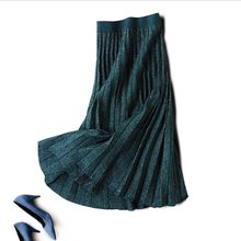 wine black navy blue vintage green glitter flexible stretchy high waist midi pleated a line warm knitted skirt for women skirts(China)