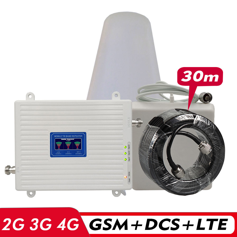2G 3G 4G Tri-Band Amplifier GSM 900+DCS LTE 1800(B3)+FDD LTE 2600(B7) Cell Phone Signal Repeater Signal Booster Antenna Set #30M