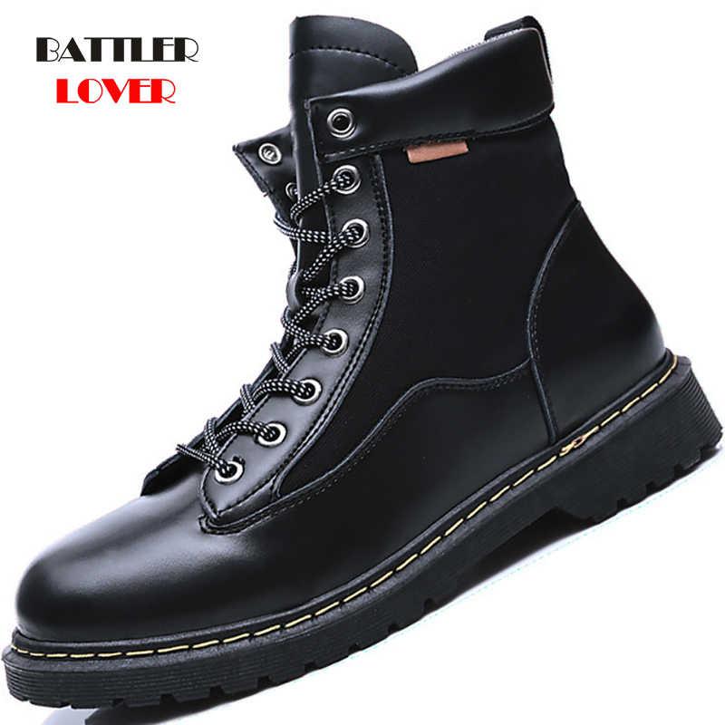 Hommes hiver militaire en cuir véritable bottes hommes Combat Bot infanterie armée tactique bottes hommes moteur Biker chaussures chaussures de plein air