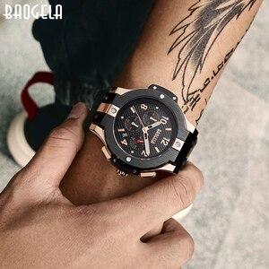 Image 4 - BAOGELA marque hommes montre Quartz montre or bande de caoutchouc 3ATM résistant à leau chronographe hommes Quartz 1909