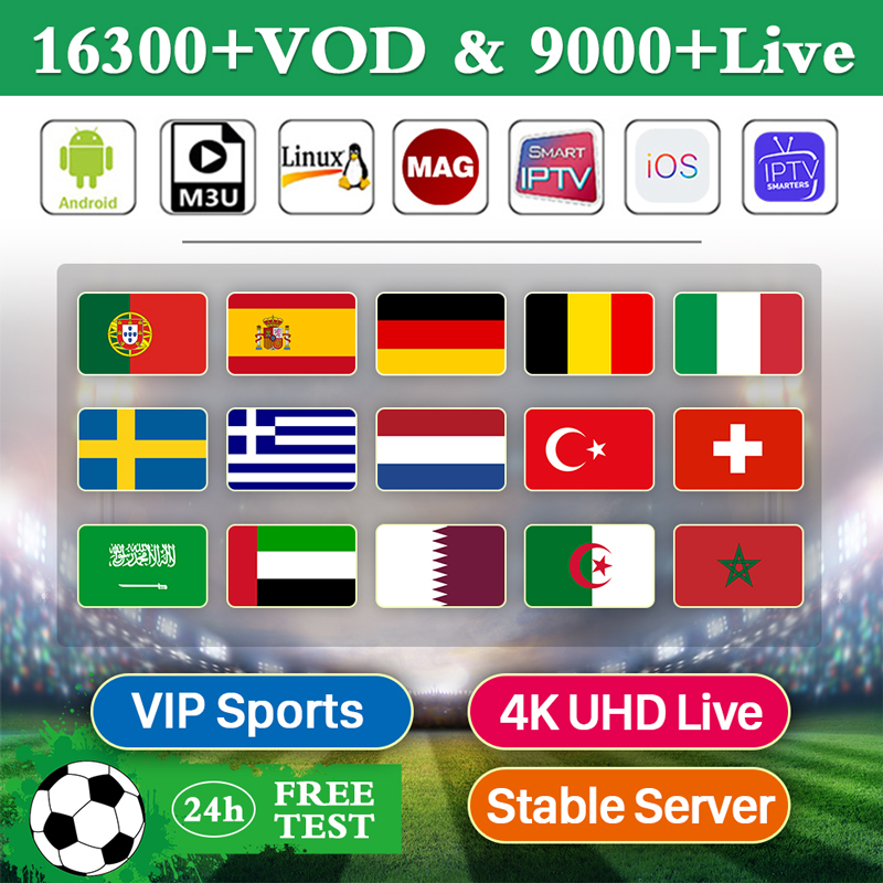 IPTV 4K Subscription Smart IPTV World Europe Nordic Turkey Arabic IPTV M3u Netherlands Spain Germany EX-YU Portugal IP TV Code
