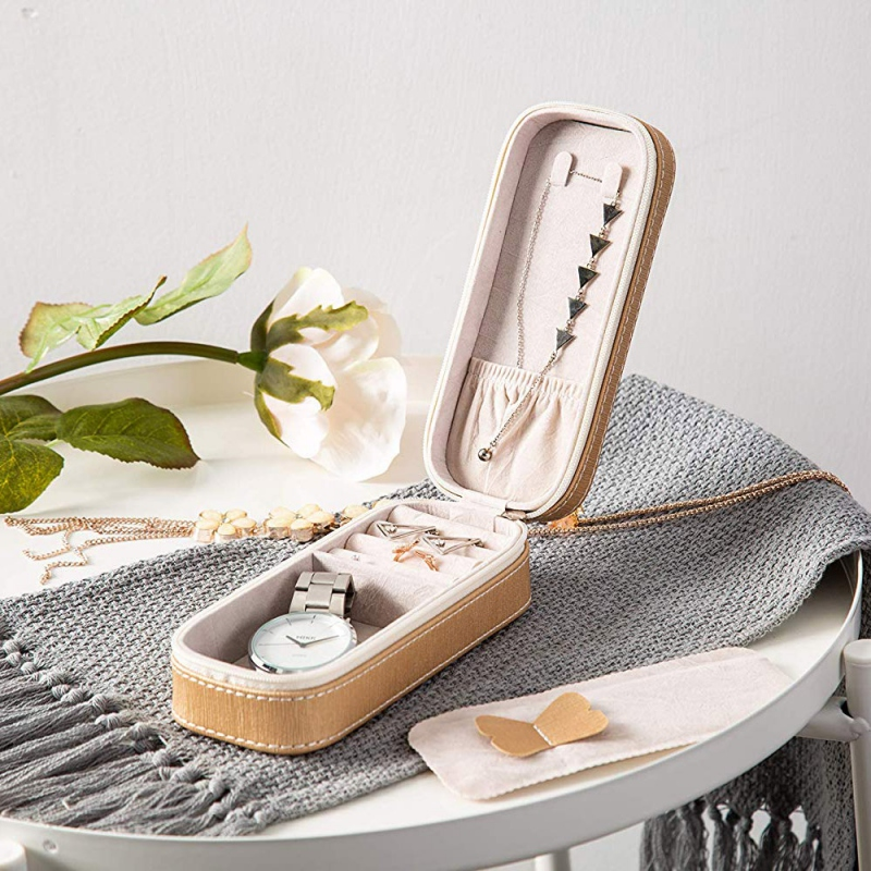 European Style Jewelry Storage Box Portable Simple Zipper Type Jewelry Box For Travel !