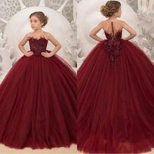 Платья для девочек с цветами бордового цвета 2020 платья Первого