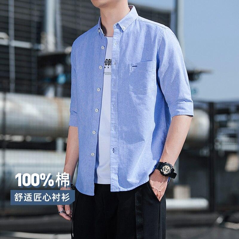 Autumn Men Middle Sleeve 100%Cotton Breathable Oxford Shirts MX19 5