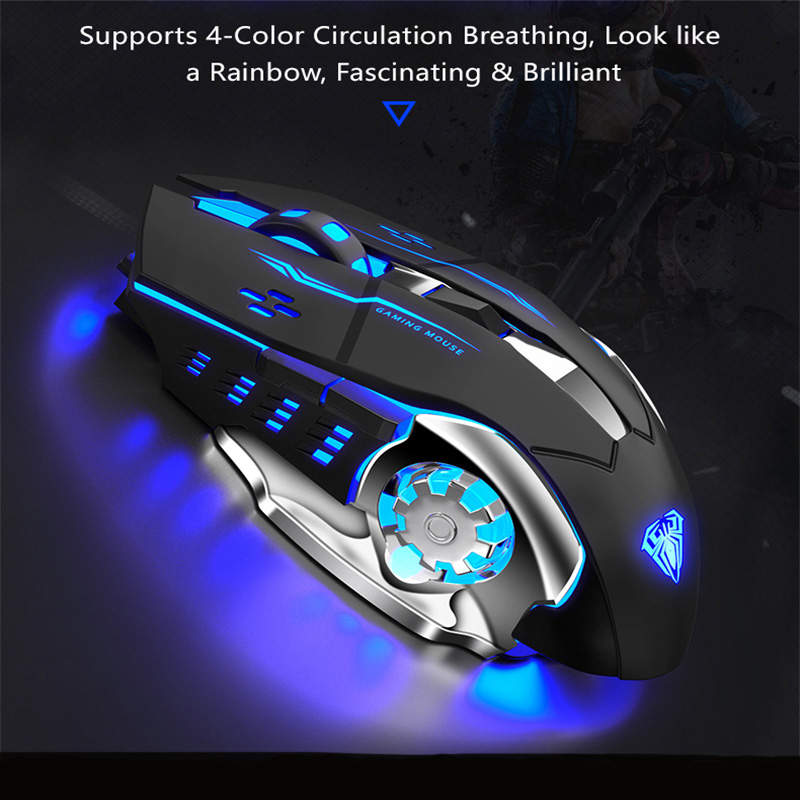AULA S20 Wired Gaming Mouse Marco USB Optical Mouse Programmable 2400 DPI Backlight LED Ergonomic Mice for Computer PC Laptop