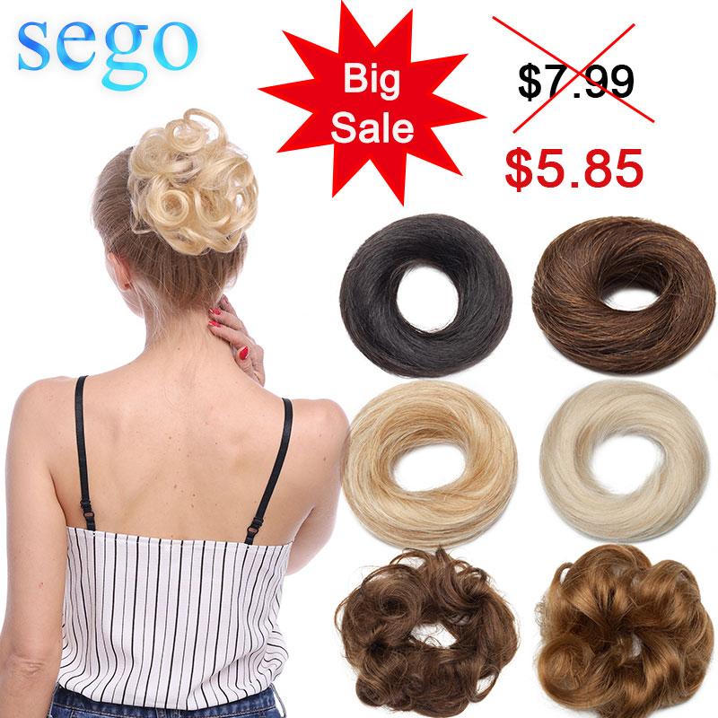Extension queue de cheval Remy bouclée-SEGO | Chignon de cheveux naturels, chouchies, Chignon Donut, froissé, 100% g 30g, queue de cheval enroulé