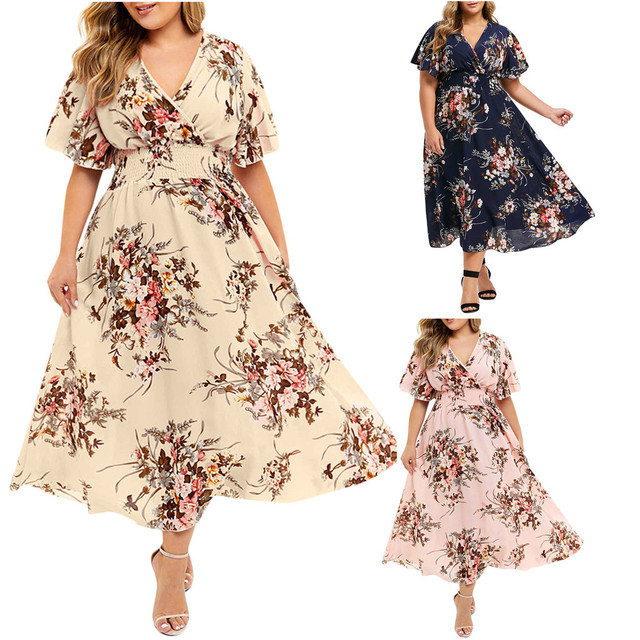 Plus Size Floral Printed V-Neck Short Sleeve Casual Dress 1