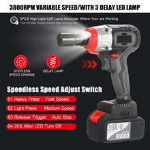Cordless Impact Wrench Kit Brushless Drill 1/2&1/4 Inch Quick Chuck 980Nm Torque Charger 4.0A Battery Variable Speed Impact Kit