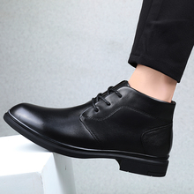 цены winter Men Leather Shoes Business Dress Classic Style Black Lace Up Pointed Toe Shoes For Men Winter plus cotton Shoes %6025