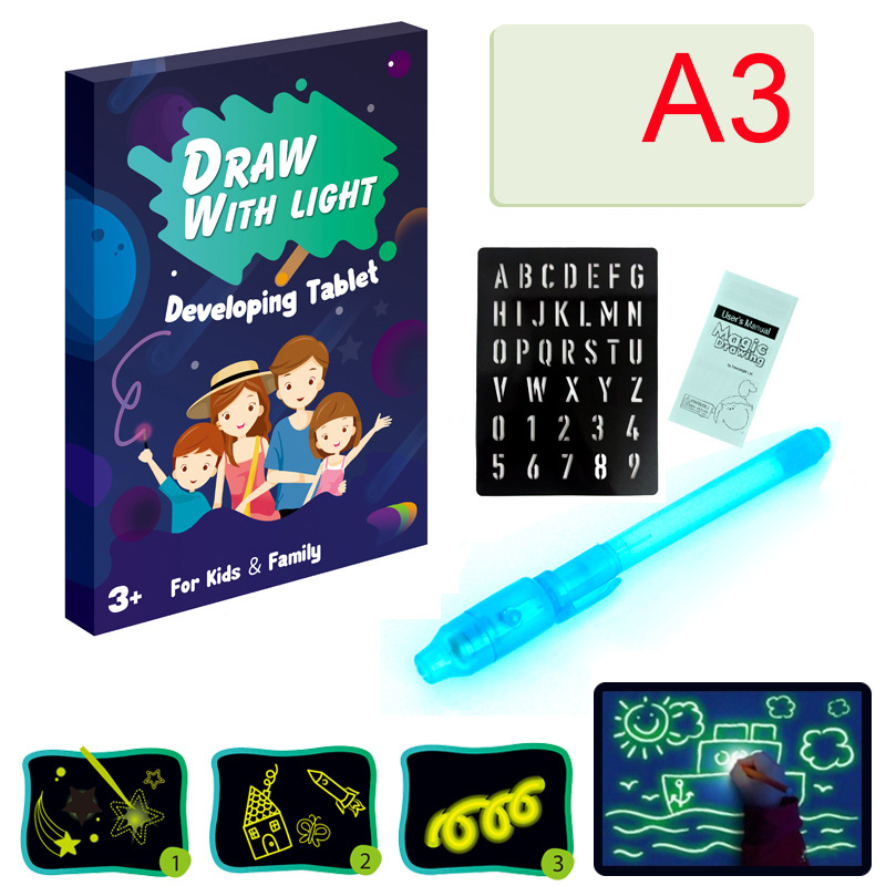 A3 A4 Magic Drawing Board Funny Toy LED Draw Tablet In Dark With Light Writing Fluorescent Pen Educational Noctilucent Kids Gift