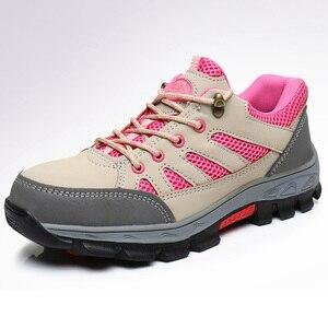 Image 2 - Zapatos de seguridad de punta de acero para mujer, botas de trabajo de seguridad, calzado de construcción, color rosa