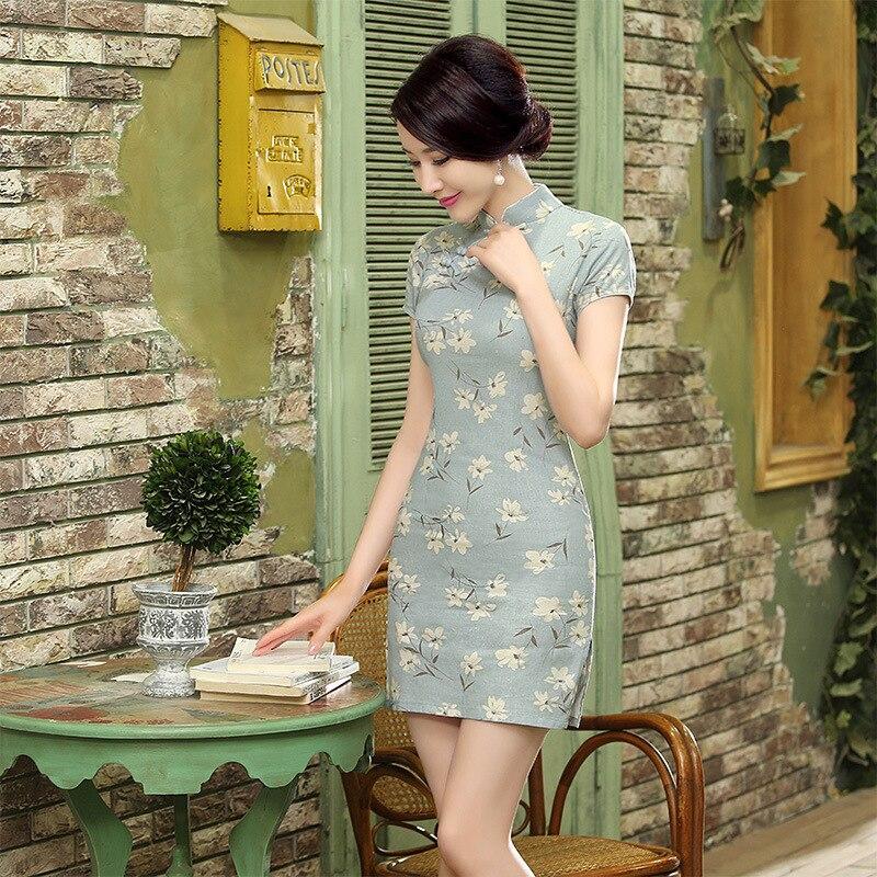 Cheongsam Women's New Style Floral Dress Retro Fashion Improved Slim Fit Chinese Costume Cheongsam Ethnic-Style WOMEN'S Dress