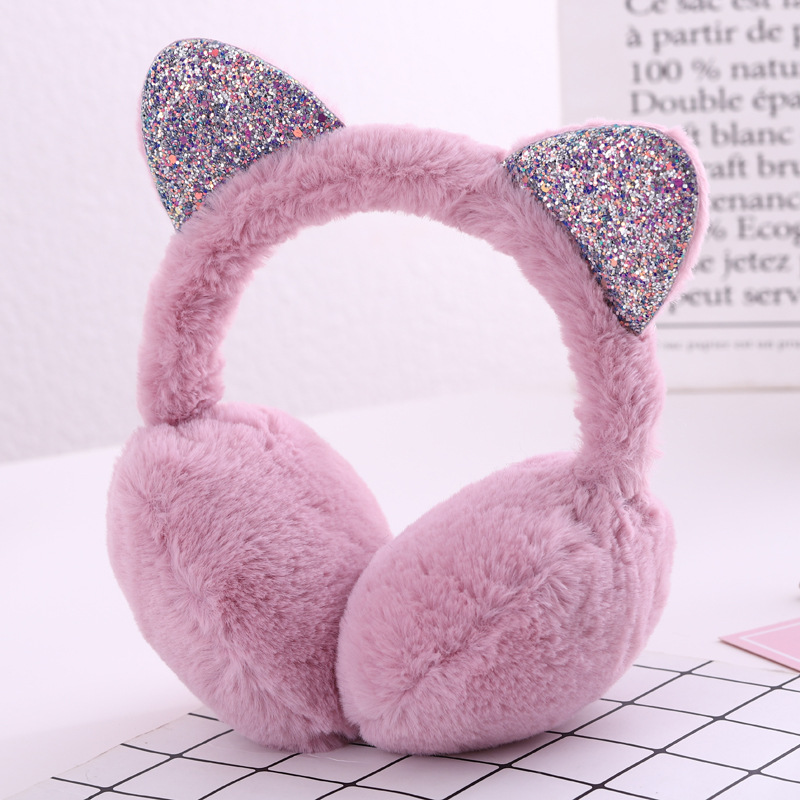 Hang Ear Cover Warm Winter Earmuffs Female Headwear Cartoon Ear Muffs Fur Earmuffs Cold Ear Warmer Fold Ear Protection Headband