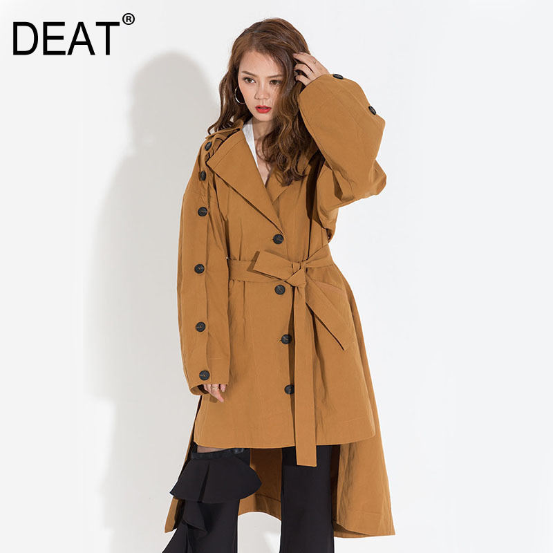 DEAT Women Yellow Back Long Hollow Out Oversize   Trench   New Lapel Long Sleeve Loose Fit Windbreaker Fashion Autumn 2019 YA052