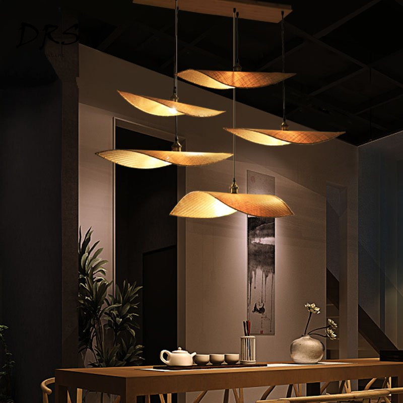 New Chinese Zen Teahouse Chandelier Antique Japanese Thailand Wooden Lustre Pendant Lamp Chinese Modern Bamboo Lighting Fixtures