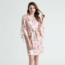 2121 New Style Ladies Kimono Nightgown Printing Short Single Gown Silk Sexy Bathrobe Sexy Dress for Sex