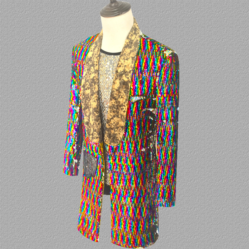 Long Laser Sequins Blazer Jacket Men Glitter Magician Sequin Mens Dress Costume Stage Party Singer Wedding Groom Suit Jacket 3XL - 2