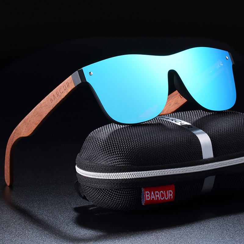BARCUR Natural Black Walnut Men Women Polarized Sunglasses Wood UV400 BC4126