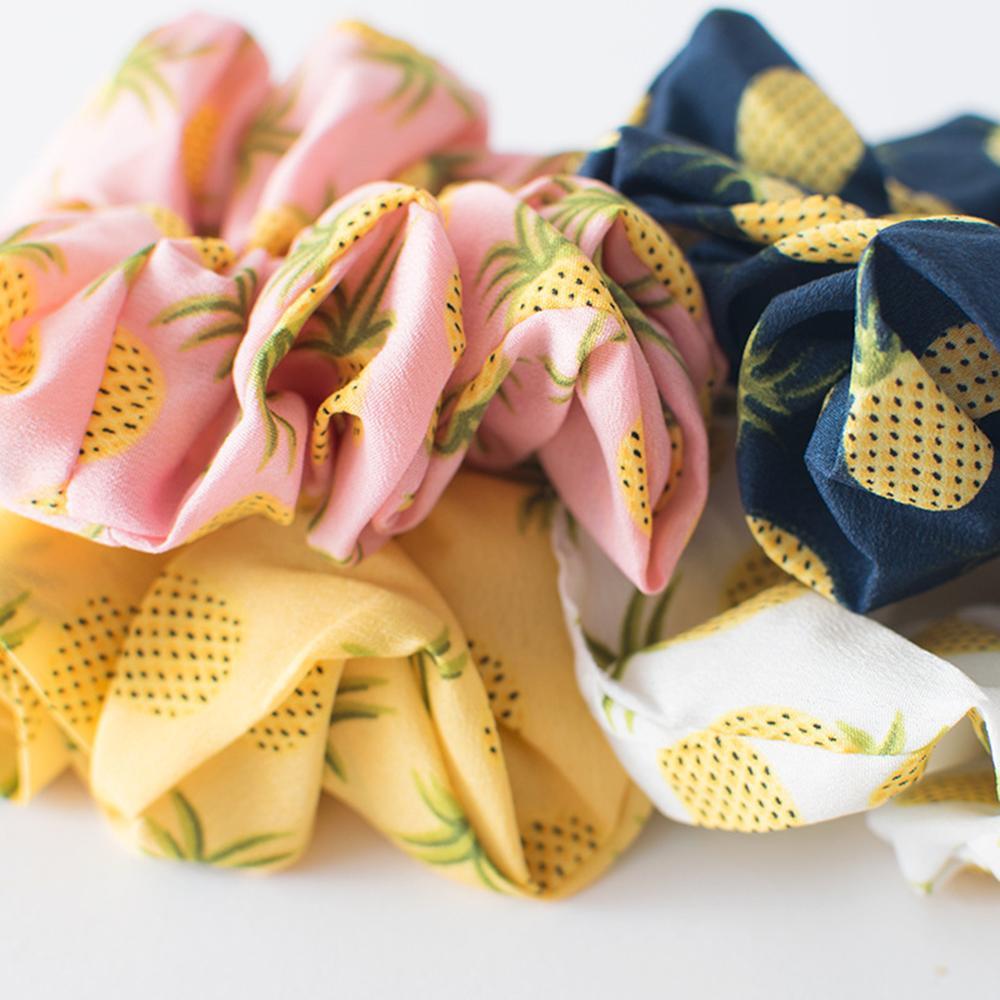 Strawberry Pineapple Printed Scrunchie Elastic Hair Band Hair Ties Girls Cute Elastic Ponytail Holder White Pink Yellow   Headwear