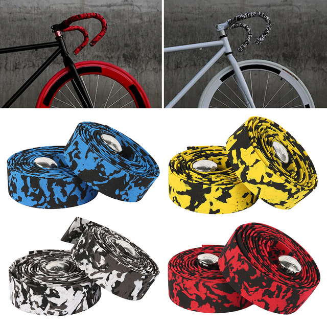 2pcs Bicycle Handlebar Tape Cover Road Bike Cycling Handle Non-slip Belt sponge Sweat band Tape Handle Bar Wrap Straps