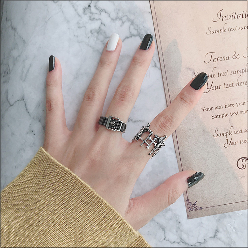 HZ 2019 Personality Tibetan Silver Metal Vintage Cross Geometric Irregularity Punk Adjustable Open Finger Rings for Women