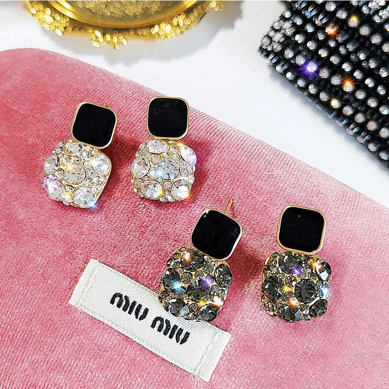 2019 nova moda zircon brincos para as mulheres elegante preto transparente cristal brincos geométrico quadrado menina festa jóias