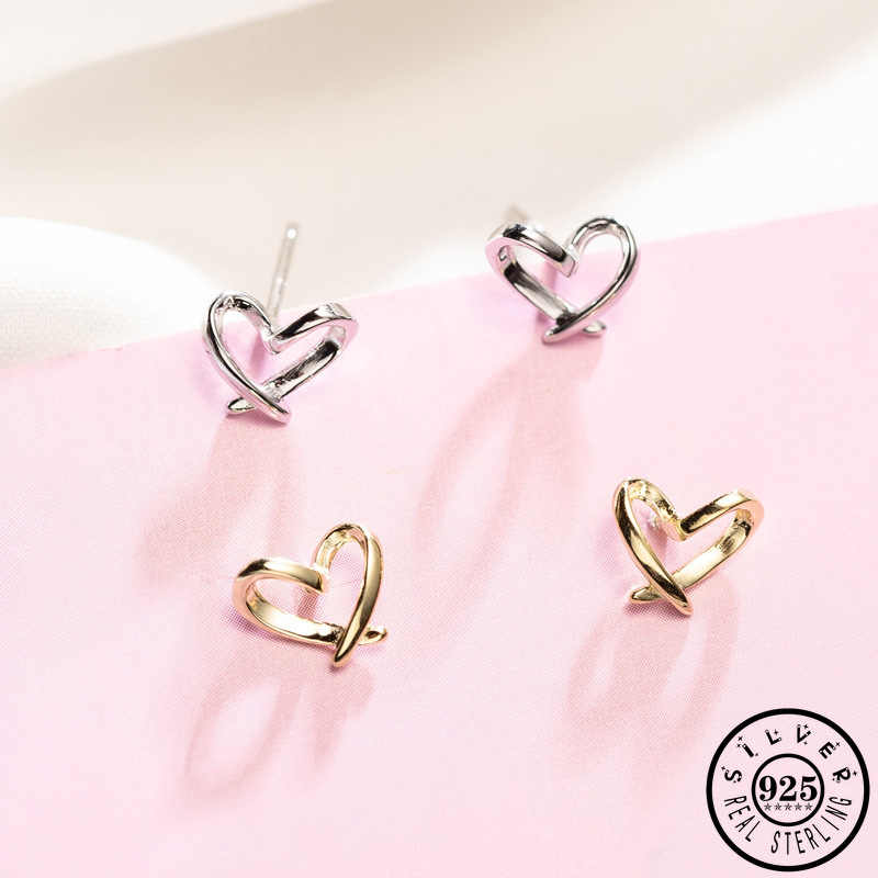 14k Gold Plated or 925 Sterling Silver  Small and Cute Hollow Heart Stud Earrings for Everyday Daily Open Heart Studs for Women and Girls