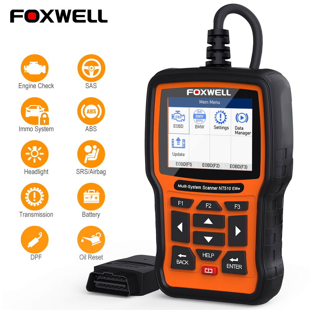 FOXWELL NT510 Elite Full System OBD2 Scanner ABS SAS AT Airbag DPF BMS EPB Oil Reset OBD 2 Code Reader Auto Car Diagnostic Tool-in Code Readers & Scan Tools from Automobiles & Motorcycles on