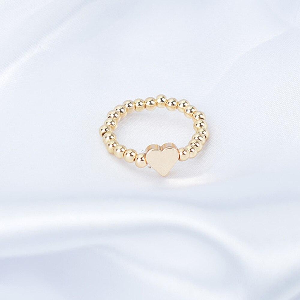 Ручной Золотой бусина серебряного цвета кольца для женщин с геометрическим узором в форме сердца эластичное кольцо простой палец ювелирны...