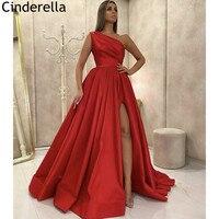 Prom Dresses One Shoulder A Line Side Slit High Quality Satin Prom Dresses With Zipper Back vestidos de fiesta de noche