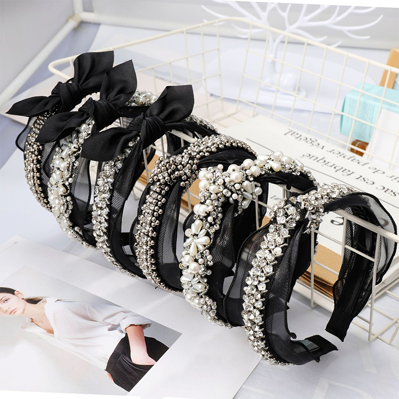 Fashion Bohemian Elegant Rhinestones Metal Beads Pearl Black Lace Headband Knot Crystal Twisted Bow Knotted Vintage Accessories