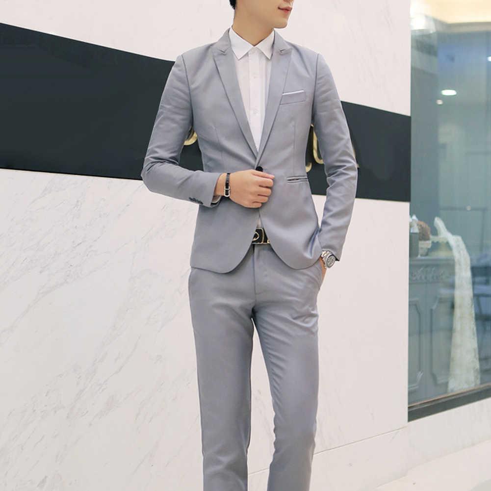 Moda erkek takım elbise pantolon ile katı erkek Blazer Slim ve uyar düğün erkek damat smokin takım balo (ceket + pantolon) kostüm homme