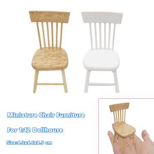 1:12 Dollhouse-Furniture Chair Miniature Wooden Kitchen Restaurant Pretend-Play-Toy Kids