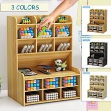 6 camadas de madeira desktop caneta titular escritório escola papelaria caixa de armazenamento diy caneta organizador de mesa material estudo rack material de escritório
