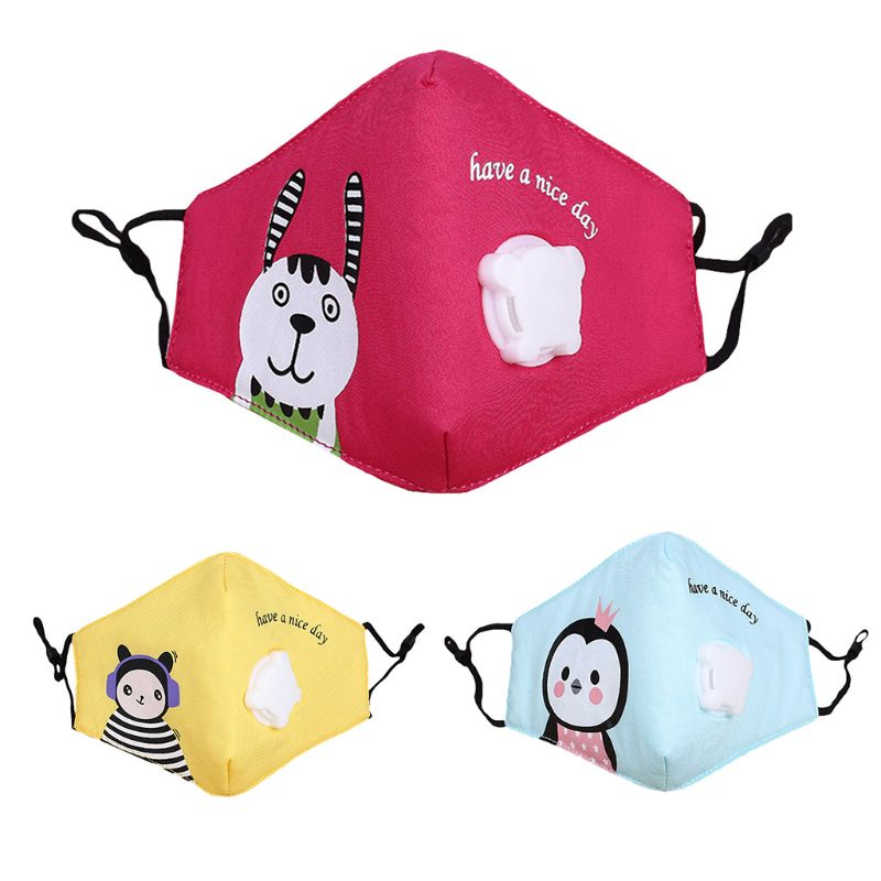 Kids Cotton Reusable Face Mouth Mask Cute Colorful Cartoon Printed PM2.5