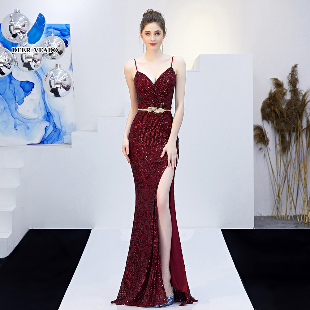 DEERVEADO Mermaid Sequin Evening Dress Long Sexy V Neck Formal Dress Evening Party Dresses Side Split Gown K16276