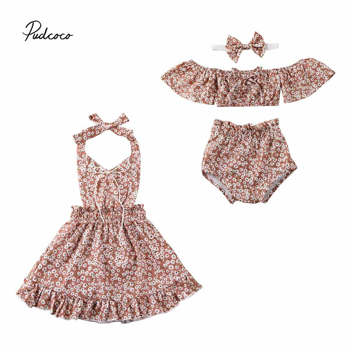 2020 Baby Summer Clothing Newborn Kids Baby Girl Floral Shorts Outfits Set Clothes Sundress Beach Dresses Sister Matching Outfit