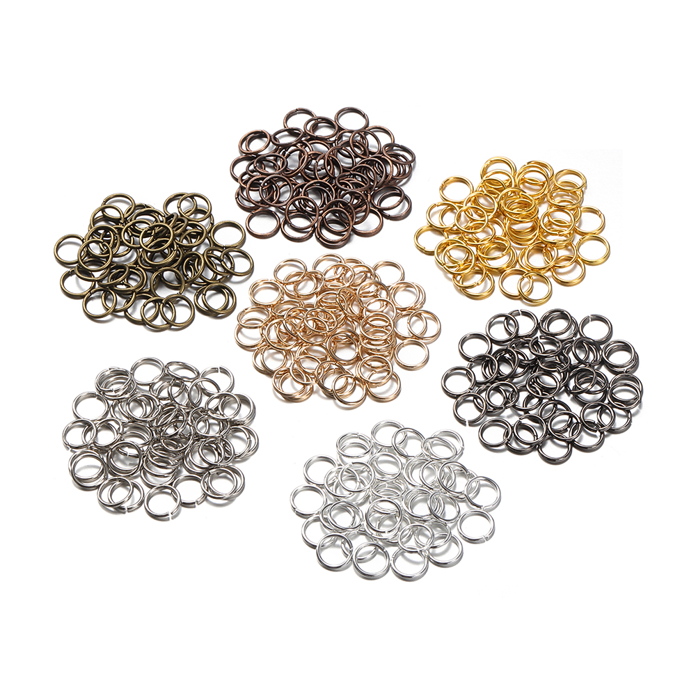200pcs 3/4/6/7/8/10mm Metal Jewelry Finding Open Single Loops Jump Rings & Split Ring for Diy Jewelry Making Connector Component