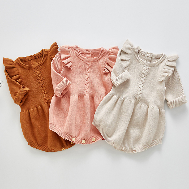 Baby clothes newborn baby girl knitted sweater warm jumpsuit baby romper crawling suit jumpsuit ruffled baby girl jumpsuit