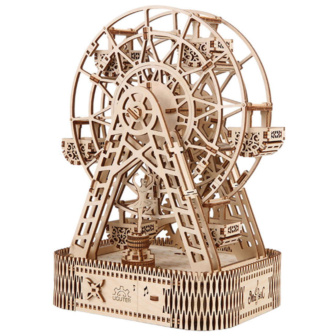 DIY Wooden Music Box Ferris Wheel Assembly Kit Puzzle Wood Craft Mechanical Transmission Model Birthday Gift With 3 Kinds Songs
